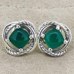 David Yurman Infinity Earrings with Green Onyx